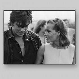 Alain Delon with Romy Schneider, filming of La Piscine by Jacques Deray, 1968