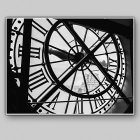 View of the Louvre Museum from the Orsay Museum Clock, Paris, France