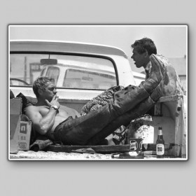 Steve Mcqueen and Bud Ekins on a break during a motorcycle race, 1963