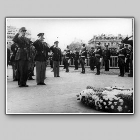 De Gaulle and Eisenhower at the ceremony to fallen soldiers and partisans, Paris, 1945