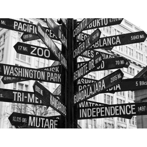 Signs of Pioneer Square, Portland, USA