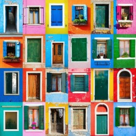 Collage of houses of Burano, Venice, Italy