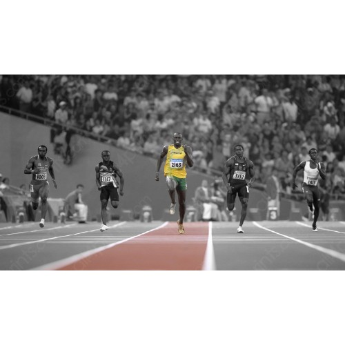 Usain Bolt in the final 100 meters of Rio, 2016