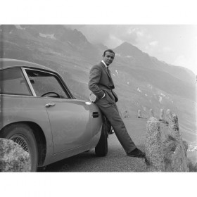 James Bond in the Alps with the Aston Martin DB5