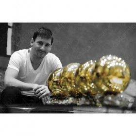 Leo Messi with 4 golden balls