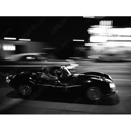 Steve McQueen driving on the Sunset Strip, 1963
